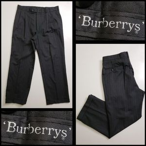burberrys men's pleated dress pants stripe size 36